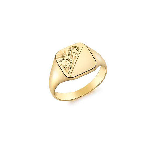 9ct Yellow Gold Signet with Engraving Details