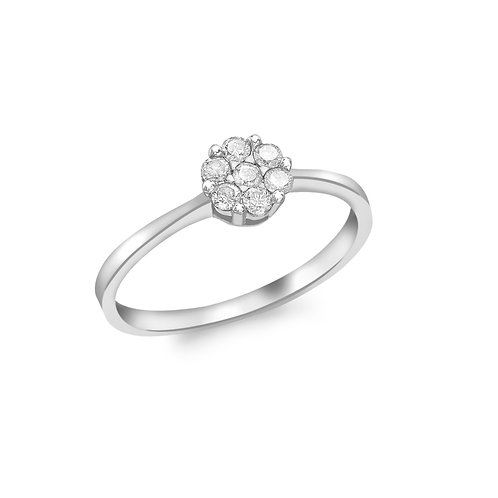 9ct White Gold 0.20ct Diamond Cluster Ring