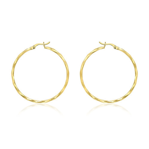 9ct Yellow Gold 38mm Diamond Cut Hoop Earrings