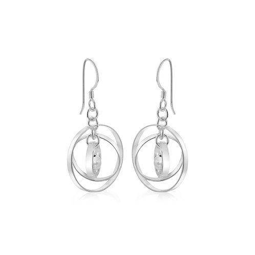 Sterling Silver Hoop and Ball Drop Earrings