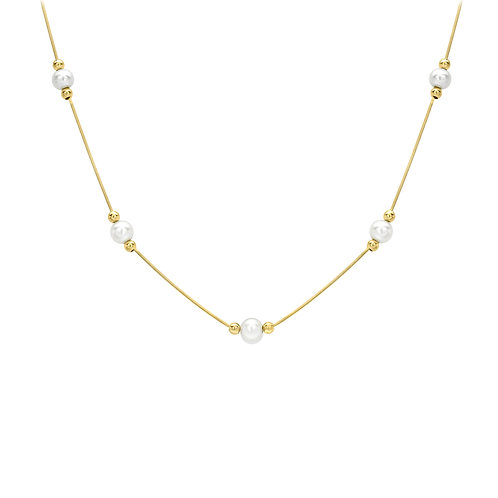 9ct Yellow Gold Necklace with Cultured Pearls