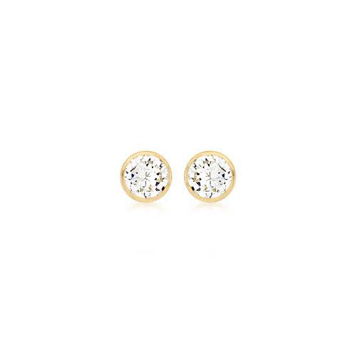 9ct Yellow Gold Bezel Set CZ Earrings
