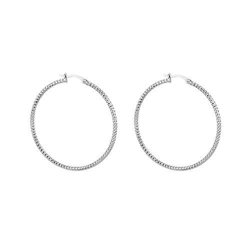 Sterling Silver 50mm Forever Bead Hoop Earrings