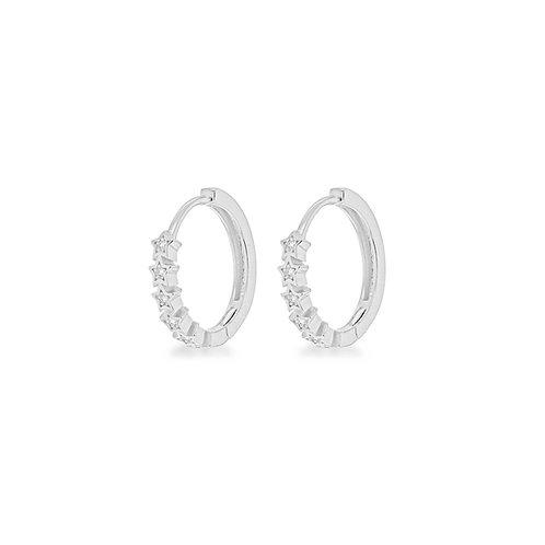 Sterling Silver Stars Huggie Hoop Earrings