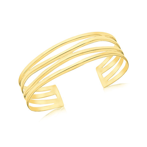 Sterling Silver 18ct Yellow Gold Plated Bangle