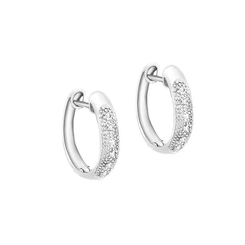 9ct White Gold 16mm Diamond Set Huggie Earrings