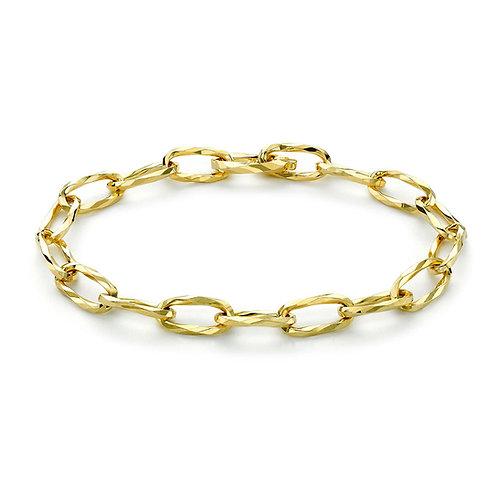 9ct Yellow Gold Diamond Cut Link Ladies Bracelet