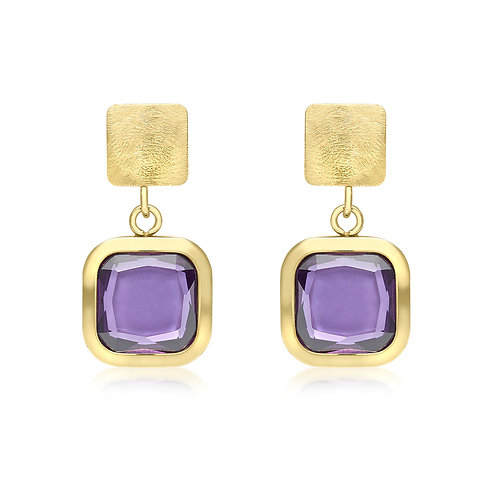 9ct Purple Crystal Drop Earrings