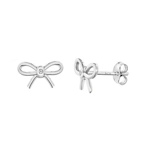 Sterling Silver Diamond Set Bow Stud Earrings