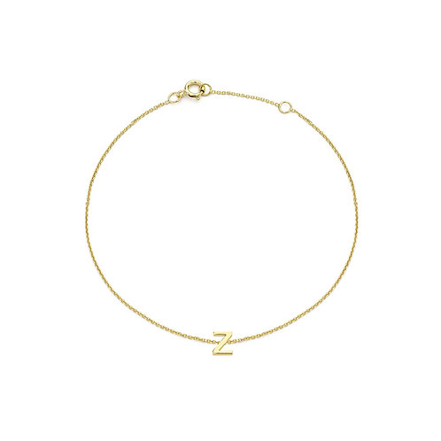 9ct Yellow Gold Initial Z Ladies Bracelet