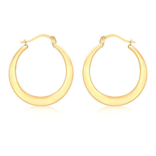 9ct Yellow Gold 24mm Graduated Creole Earrings