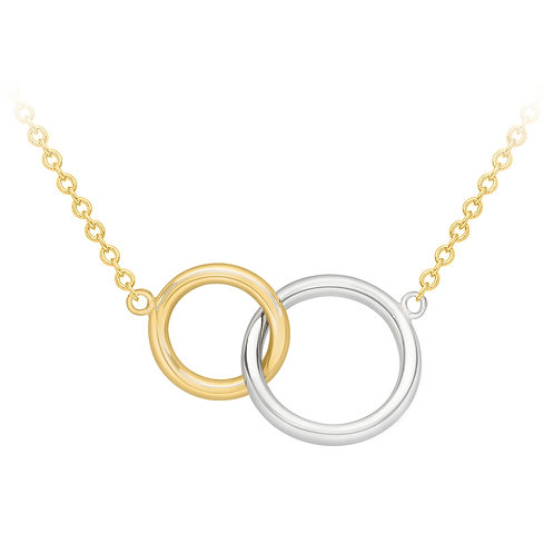 9ct Yellow and White Gold Double Ring Necklace