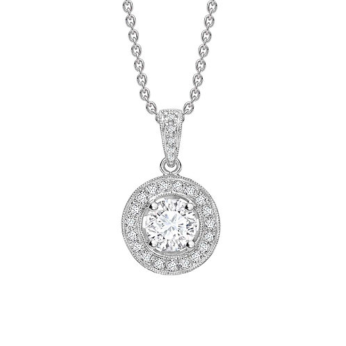 0.65ct Diamond Drop Halo Pendant