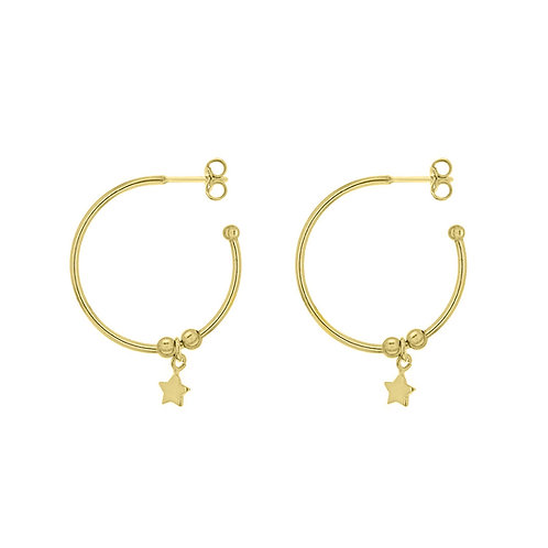 Yellow Gold Vermeil 23mm Star Hoop Earrings