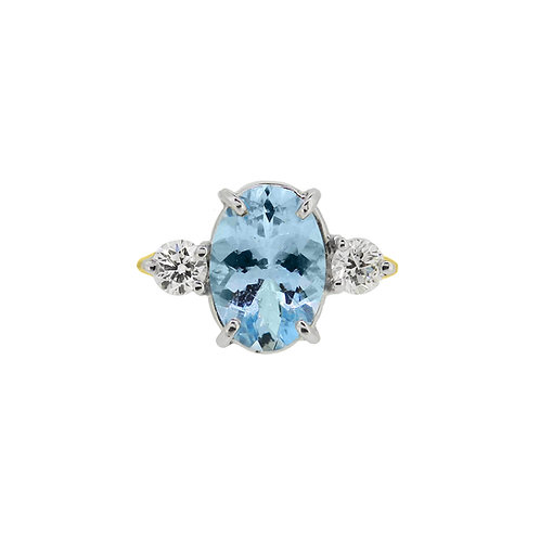 18ct Yellow Gold Aquamarine and Diamond Three Stone Ring