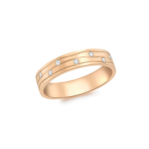 9ct Rose Gold Diamond Set Design Ring