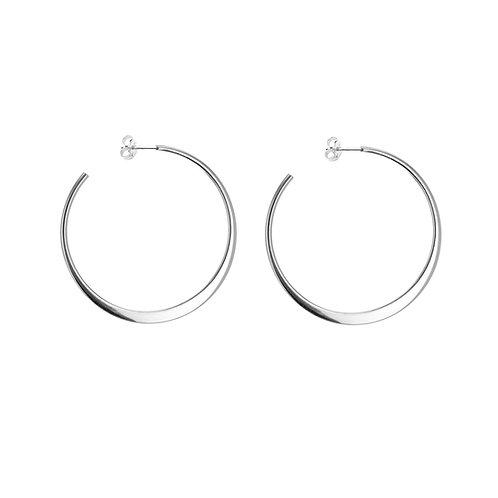 Sterling Silver 45mm Graduated Hoop Earrings
