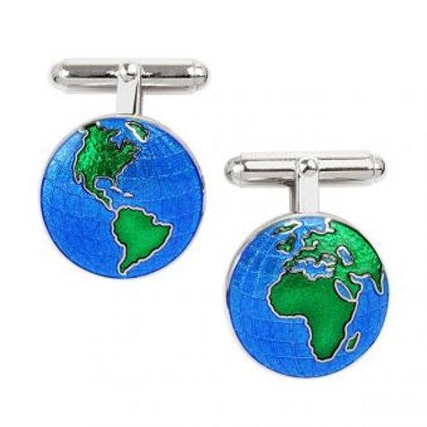 Sterling Silver Fine Enamel Globe Cufflinks