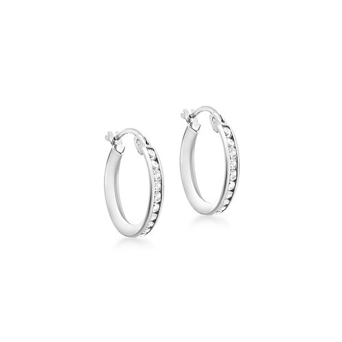 9ct White Gold 15mm Stone Set Creole Earrings