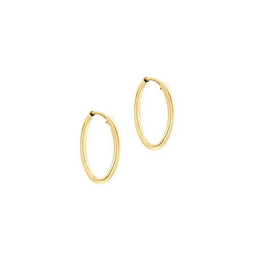 9ct Yellow Gold 15mm Plain Sleeper Hoop Earrings