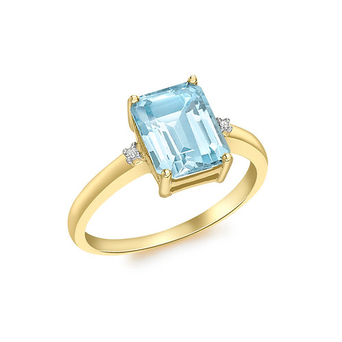 9ct Yellow Gold Octagonal Blue Topaz and Diamond Ring