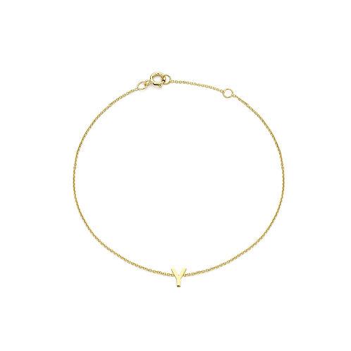 9ct Yellow Gold Initial Y Ladies Bracelet