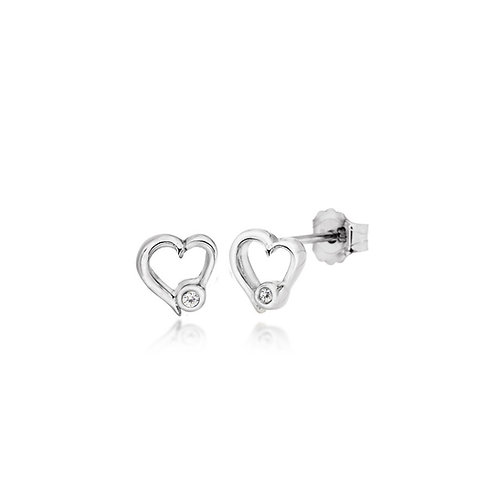 Sterling Silver Diamond Set Heart Stud Earrings