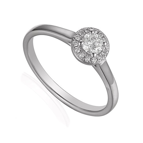0.27ct Diamond Solitaire Halo Ring