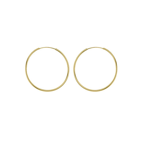 9ct Yellow Gold 25mm Plain Sleeper Hoop Earrings
