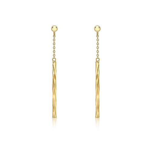 9ct Yellow Gold Faceted Chain Drop Earrings