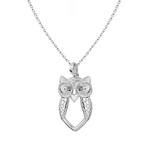Sterling Silver Diamond Set Owl Necklace
