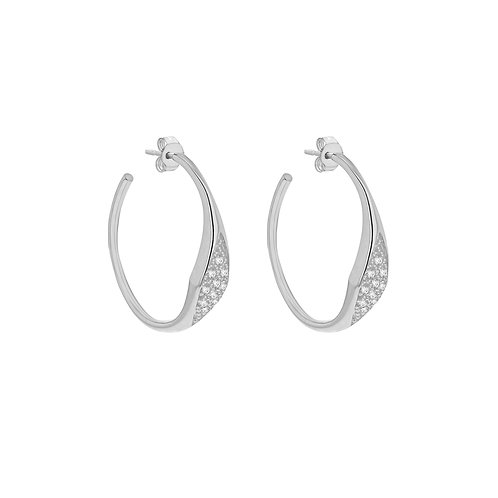 Sterling Silver Stone Set Design Hoop Earrings