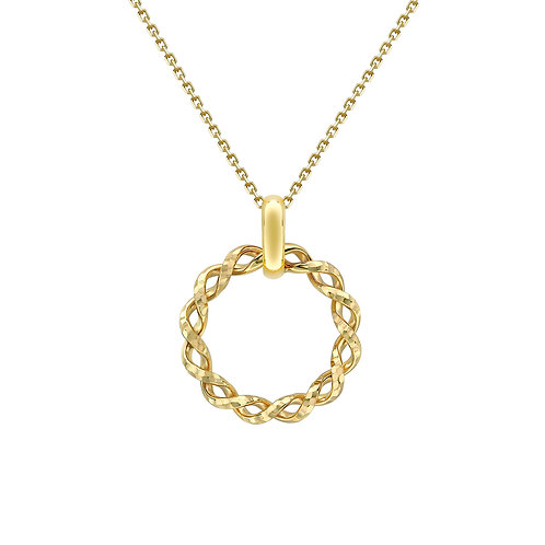 9ct Yellow Gold Dia Cut Twist Circle Necklace