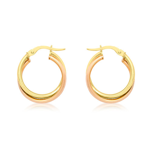 9ct Yellow&Pink Gold 18mm Creole Earrings
