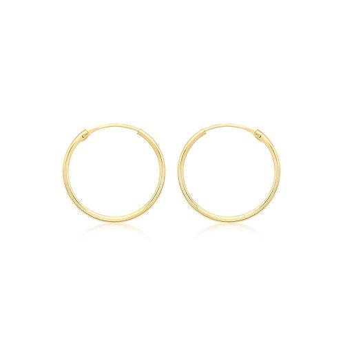 9ct Yellow Gold 18mm Sleeper Hoop Earrings