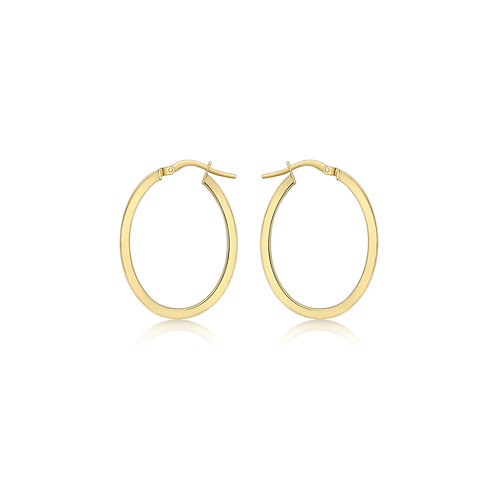 9ct Yellow Gold 22mm x 30mm Oval Hoops