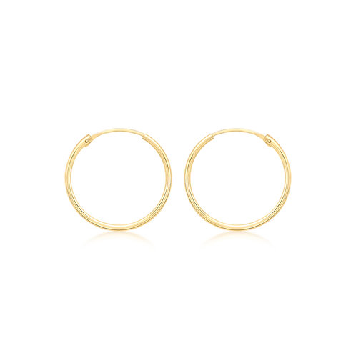 9ct Yellow Gold 22.5mm Plain Tube Hoop Earrings