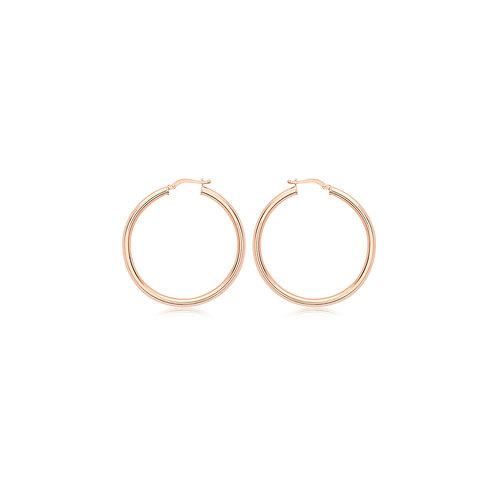 9ct Rose Gold 40mm Hoop Earrings