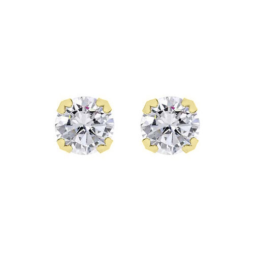 9ct Yellow 7mm Claw Set CZ Earrings