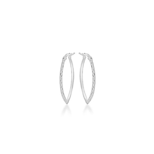Silver Diamond Cut Elliptical Creole Hoops
