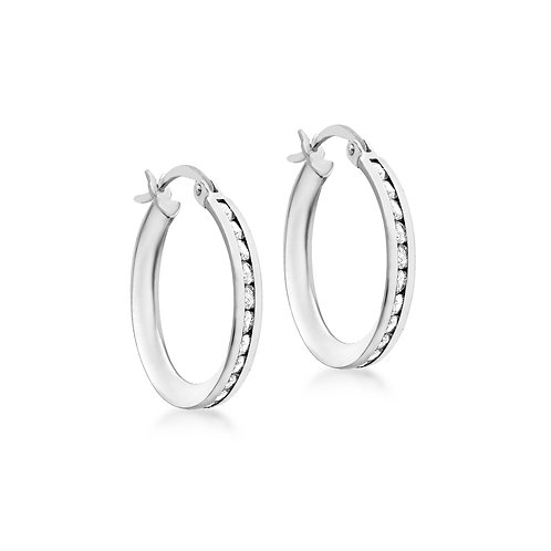 9ct White Gold 21mm Stone Set Creole Earrings