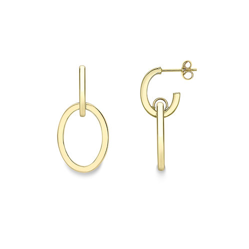 9ct Yellow Gold Stud Oval Drop Earrings