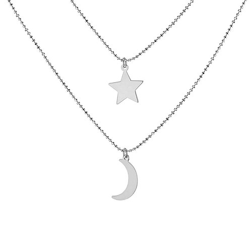 Sterling Silver Moon and Star Double Necklace