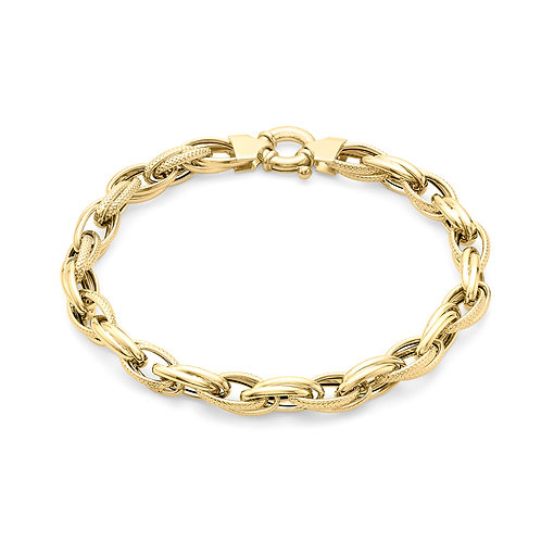 9ct Yellow Gold Textured Link Ladies Bracelet