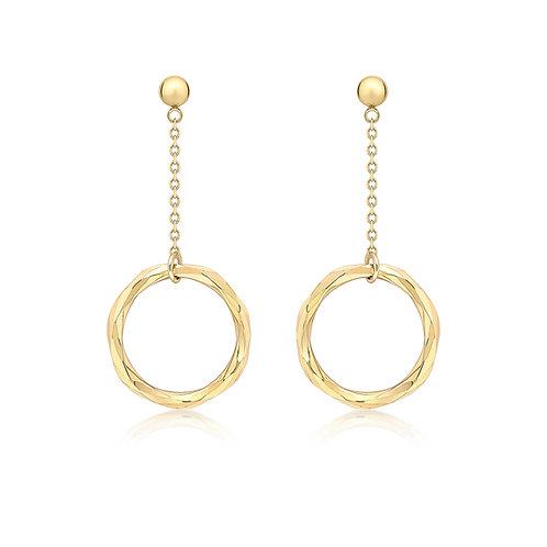 9ct Yellow Gold Ring Drop Earrings