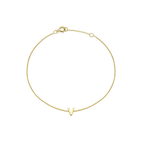 9ct Yellow Gold Initial V Ladies Bracelet