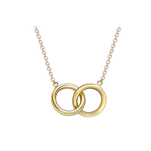 9ct Yellow Gold Linked Ring Necklace