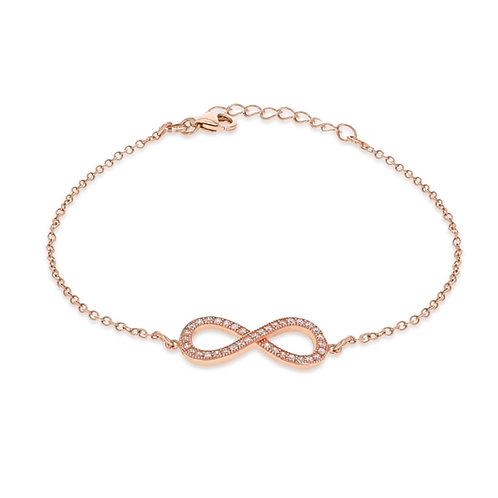 Sterling Silver CZ Rose Gold Infinity Bracelet