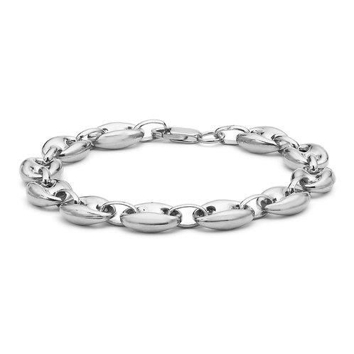 Sterling Silver Rambo Oval Link Bracelet