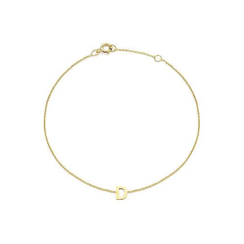 9ct Yellow Gold Initial D Ladies Bracelet